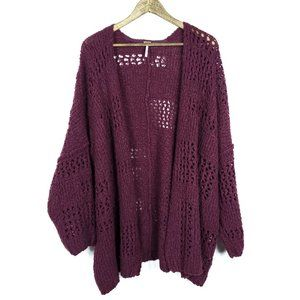 Free People Wine Knit Saturday Morning Cardigan